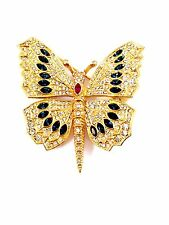 DAZZLING CINER GOLD-TONE PAVE CRYSTAL SAPPHIRE PINK RHINESTONE BUTTERFLY BROOCH