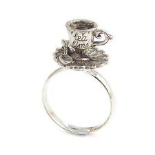 Alice in wonderland Tea cup TEACUP RING silver adjustable mad hatter drink me