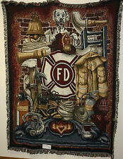 "Brand New `Fireman Pride` firefighter Tapestry Throw Blanket - Fringed 54"" X 70"""