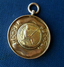 Vintage 9ct Rose Gold Medal or Watch Fob - Fishing & Angling h/m 1930 Birmingham