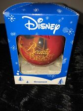 Disney Beauty and the Beast Glass Christmas Ornament Ball Red Bow Gold Hanger
