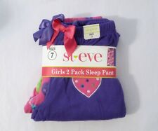 NEW St. Eve Girl's Cozy Fleece Elastic Waist Sleep Pants 2-pack Heart 7