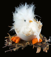 Large Fluffy Easter Chick Ornament In Egg On Twigs Decoration ( White )