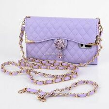 2 Chain Bling Flower Leather Flip Wallet Case Cover For Samsung Galaxy Note 3