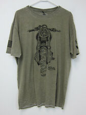 Von Dutch Motorcycle T-Shirt - Mens 2XL - Olive Burntout Wash - NWT