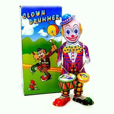 TIN TOY DRUMMING CLOWN Wind Up Drums Collectible Vintage Style NIB Circus Robot