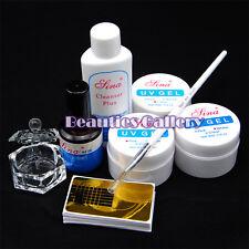 Nail Art UV Builder Gel Tips Topcoat Cleanser Plus Brush Primer Base Kit Set Pro