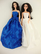 A Set of 2 Marvelous Strapless Ball Gowns in Blue and White Made to Fit the Barb