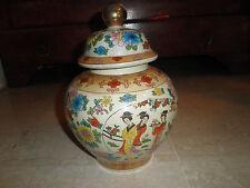 vase en céramique décor floral et personnages féminins origine japon