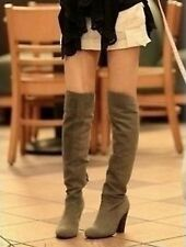 Winter Womens Suede Sexy Over The Knee Thigh High Block Heels Long Boots Shoes