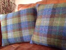 1 2 4 6 Harris Tweed John Lewis Velluto Blu Teal Duck Egg Marrone Copricuscino 18
