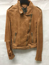 Muubaa Women's Tan Leather Biker Jacket. RRP £355. UK 10.