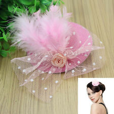 Girls Pink Feather Gauze Mini Top Hat Shape Hair Clip Fascinator for Fancy Dress