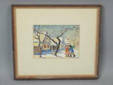 Vintage Mid 20c Nelly Otto Gertrud Natzler Watercolor Painting Christmas Scene