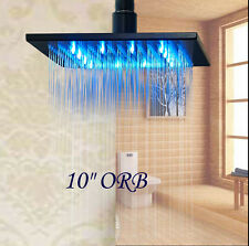 """Oil Rubbed Bronze 10"""" LED Rain Shower Head Wall / Ceiling Mounted Shower Sprayer"""
