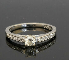 18ct White Gold Solitaire Diamond With Accents TCW 0.33 Carat Ring (Size K 1/2)