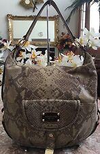 Michael Kors Python Snake Leather Embossed Hobo Tote Purse Shoulder Bag