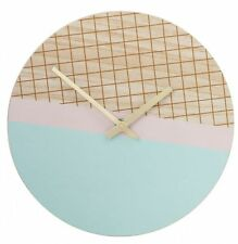 NEW 24cm Wall Clock Modern Mint Pink Gold Grid Design Home Decor Homewares