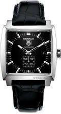 WW2110.FC6177 TAG HEUER MONACO AUTOMATIC CALIBRE 6 BLACK LEATHER MEN'S WATCH