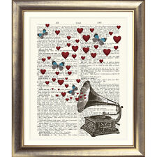 ART PRINT ON ORIGINAL ANTIQUE BOOK PAGE Gramophone Butterfly Heart Music Vintage