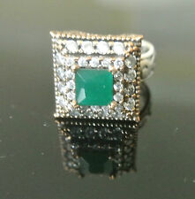 Turkish 1.5 Ct Square Emerald Ottoman Victorian Style 925 Silver Size 6.5 Ring