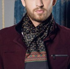 Mens 100% Silk Long Scarf Cravat Scarives Double Layer Black