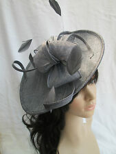 NEW SLATE GREY SINAMAY & FEATHER FASCINATOR HAT.Shaped saucer disc,Wedding.