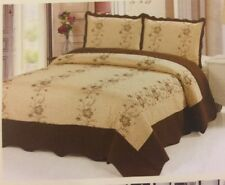 3Pc Gold-BrownQuilt Floral Embroidery Bedspread CalKing Size Coverlet Beding Set