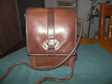 FOSSIL DARK BROWN LEATHER MESSENGER CROSS BODY BAG