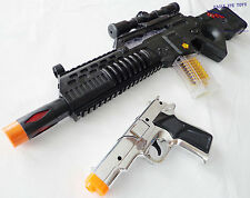 Military Soldier HUGE Toy Rifle Machine Gun with Flashing Lights Silver 9mm Cap