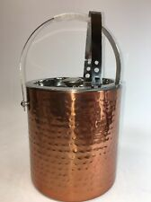 Hammered Copper Stainless Steel Ice Bucket With Tongs Bar NEW Beautiful Decor