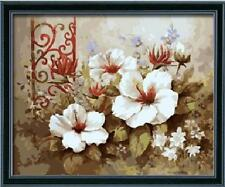 Diy oil painting, paint by number kit- Pure flowers 16*20 inch., New, Free Shipp