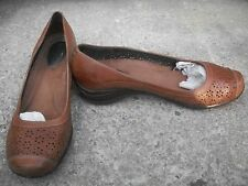 HUSH PUPPIES Women's Slip On Shoes Brown Leather Perforated Flats 10 Medium VGC