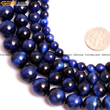 """Round Tiger's Eye Stone Beads For Jewelry Making 15"""" Dyed Color Natural Stone"""