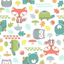 Fabric Woodsie Baby Animals on White Flannel by the 1/4 yard BIN