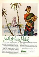 "1963 India Travel South of ""Taj Mahal"" Native Girl ART PRINT AD"