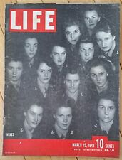 LIFE MAGAZINE MARCH 15 1943 WAVES ROOSEVELT BARNEY ROSS SHOWGIRLS PIN-UP GIRLS