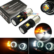2 High Power 1157 BAY15D Switchback 3030 SMD LED White Yellow Turn Signal Lights