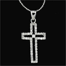 Cross Faith Religious Pendants Necklace Charm Crystal Clear Costume Jewelry 18k