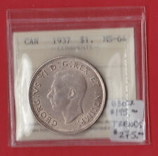 1937 Mint State Canada Silver Dollar ICCS MS 64 8307 Trends $275