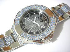 Iced Out Bling Bling Stainless Steel Techno King Men's Watch Silver Blue # 3610
