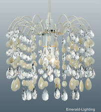 BARCELONA CREAM CRYSTAL WATERFALL CASCADE CHANDELIER PENDANT LIGHT SHADE LAMP