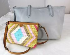 Lot of Fossil Gray Pebbled Leather Tote Shopper Shoulder Bag w/ Small Cross-body
