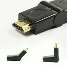 Hot Black HDMI Male to Female Adapter 180 Degree Rotating Swivel Right Angled