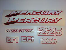 Mercury 225  EFI Outboard decals  Custom Red, white chrome tails Marine Vinyl