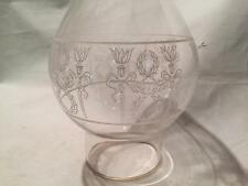 ANTIQUE VINTAGE ETCHED GLASS HURRICANE OIL LAMP SHADE CHIMNEY