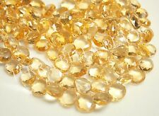 15 piece AAA CITRINE faceted gem stone heart briolette beads 10mm - 11mm yellow
