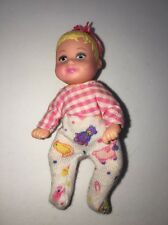 Barbie Baby Doll Girl Blonde Stroll and Play Dressed Krissy Pink Hair Bow Bunny