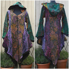 CASHMELON HOODED LONG JACKET, COAT, HIPPY, BOHO, PSY, QUIRKY, PIXIE SIZE 12, 14