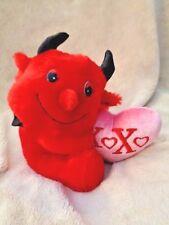 "Devil Red Holding Pink XOXO Valentine Heart Dan Dee 7"" Stuffed Plush Horns Cute"